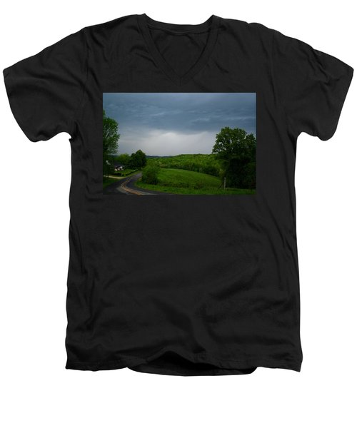 Men's V-Neck T-Shirt featuring the photograph Thunderstorm by Kathryn Meyer