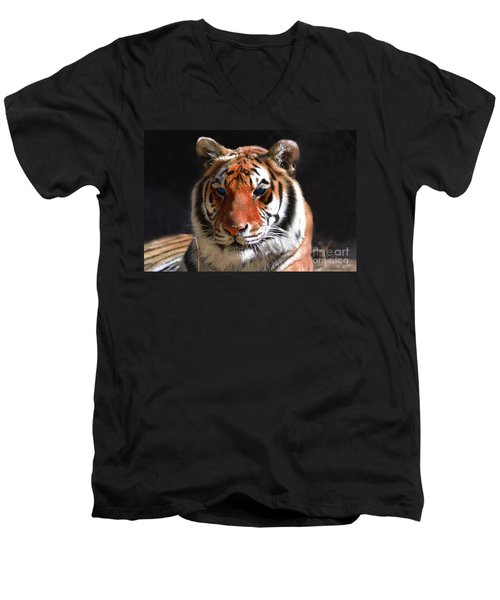 Tiger Blue Eyes Men's V-Neck T-Shirt by Rebecca Margraf