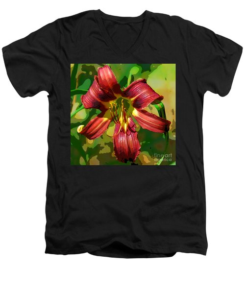 Tiger Lily Men's V-Neck T-Shirt by Cindy Manero
