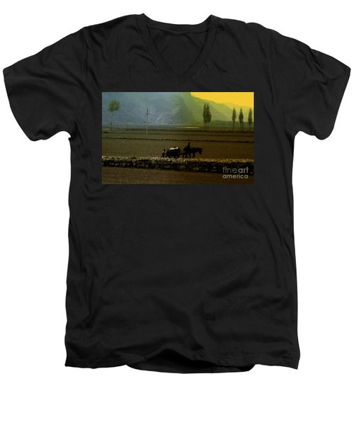 Men's V-Neck T-Shirt featuring the photograph 'til The Day Is Done by Lydia Holly