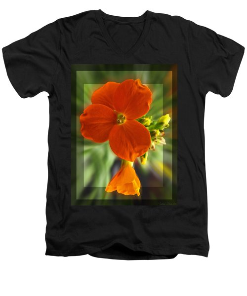 Men's V-Neck T-Shirt featuring the photograph Tiny Orange Flower by Debbie Portwood