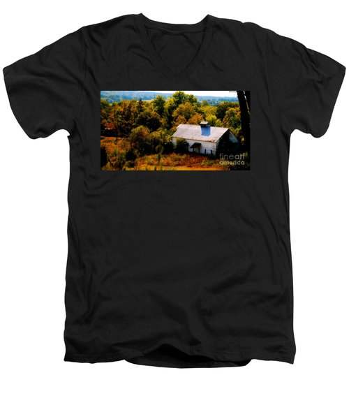 Men's V-Neck T-Shirt featuring the photograph Touch Of Old Country by Peggy Franz