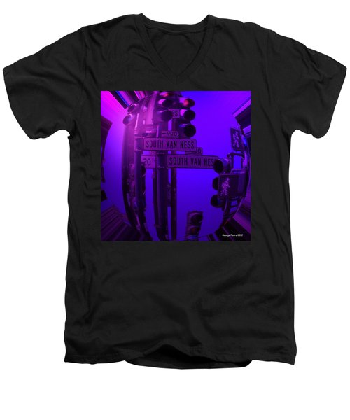 Men's V-Neck T-Shirt featuring the photograph Traffic Stop by George Pedro
