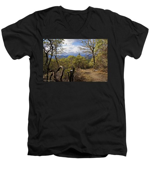 Men's V-Neck T-Shirt featuring the photograph Trail At Cathedral Hills by Mick Anderson