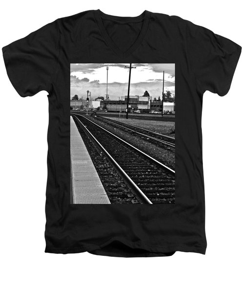 Men's V-Neck T-Shirt featuring the photograph train tracks - Black and White by Bill Owen