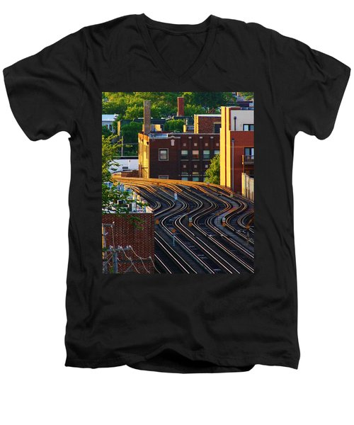 Men's V-Neck T-Shirt featuring the photograph Train Tracks by Bruce Bley