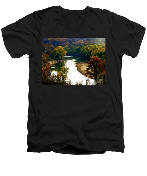 Men's V-Neck T-Shirt featuring the photograph Tranquil View by Peggy Franz