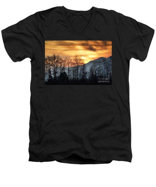 Trees With Orange Sky Men's V-Neck T-Shirt