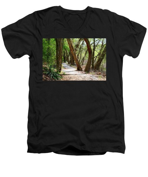 Men's V-Neck T-Shirt featuring the photograph Trestle Walk by Kathryn Meyer