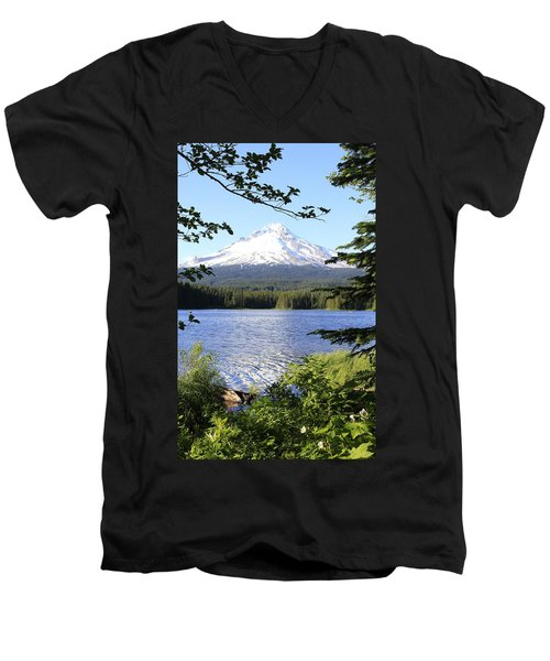 Men's V-Neck T-Shirt featuring the photograph Trillium Lake At Mt. Hood by Athena Mckinzie