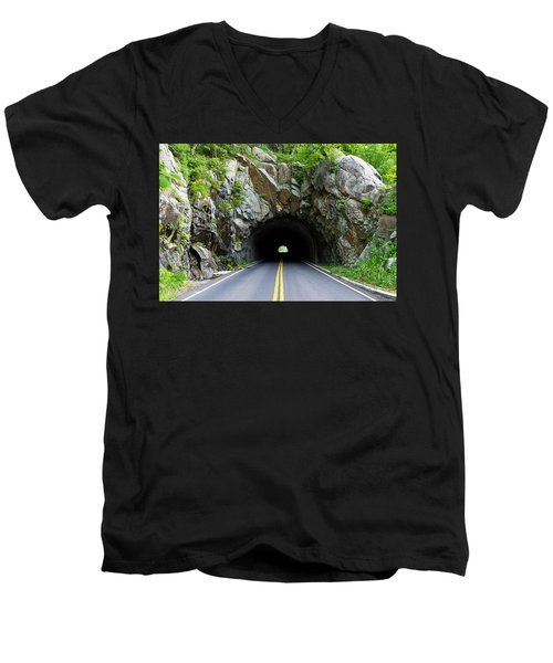 Tunnel On A Lonely Road Men's V-Neck T-Shirt