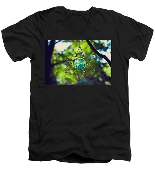 Men's V-Neck T-Shirt featuring the photograph Turquoise Light by Sara Frank