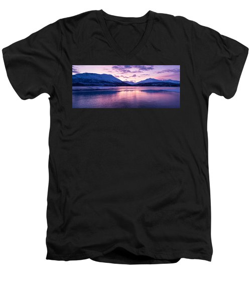 Twilight Above A Fjord In Norway With Beautifully Colors Men's V-Neck T-Shirt