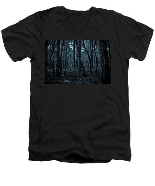Men's V-Neck T-Shirt featuring the photograph Twilight In The Smouldering Forest by DigiArt Diaries by Vicky B Fuller