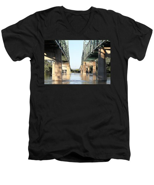 Men's V-Neck T-Shirt featuring the photograph Twin Bridges by Elizabeth Winter