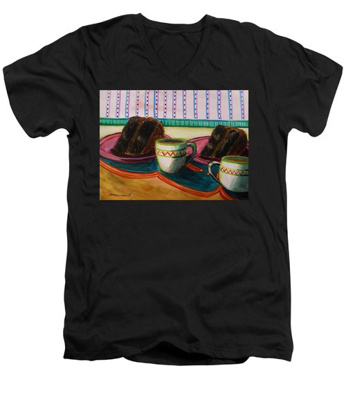 Men's V-Neck T-Shirt featuring the painting Twin Devil's Food by John Williams