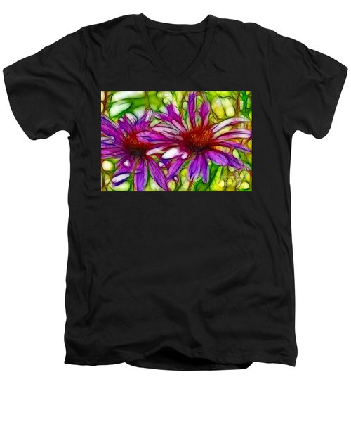 Two Purple Daisy's Fractal Men's V-Neck T-Shirt