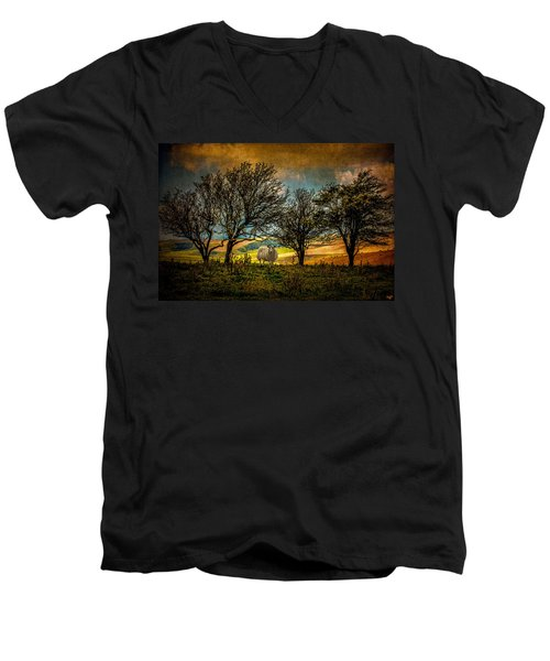 Men's V-Neck T-Shirt featuring the photograph Up On The Sussex Downs In Autumn by Chris Lord