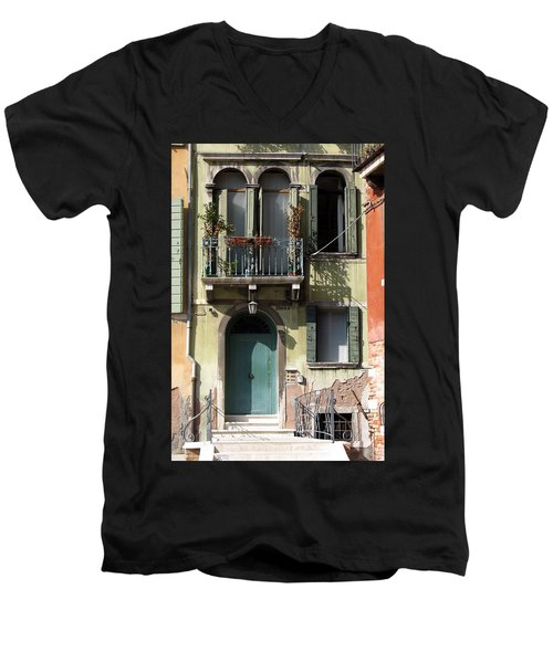 Men's V-Neck T-Shirt featuring the photograph Venetian Doorway by Carla Parris