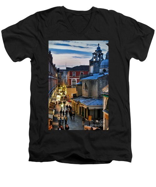 Venice From Ponte Di Rialto Men's V-Neck T-Shirt
