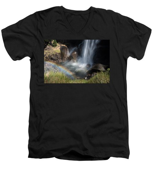 Vernal Falls Rainbow On Mist Trail Yosemite Np Men's V-Neck T-Shirt