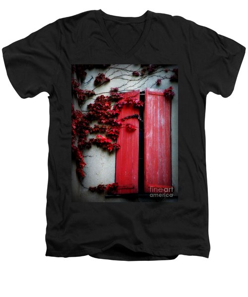 Vines On Red Shutters Men's V-Neck T-Shirt