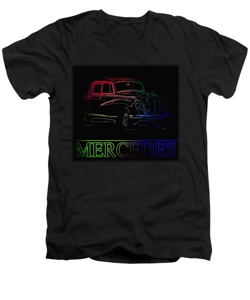 Men's V-Neck T-Shirt featuring the photograph Vintage Mercedes by George Pedro