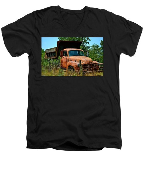 Men's V-Neck T-Shirt featuring the photograph Vintage Old Time Truck by Peggy Franz