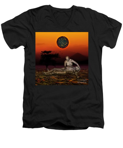Men's V-Neck T-Shirt featuring the digital art Volcanos Pieta by Rosa Cobos