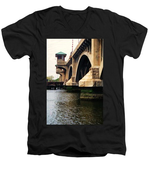Washington Bridge Men's V-Neck T-Shirt by John Scates