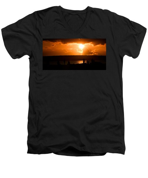 Men's V-Neck T-Shirt featuring the photograph Watching Sunset by Yew Kwang