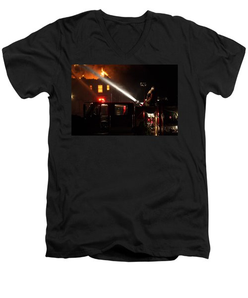 Water On The Fire From Pumper Truck Men's V-Neck T-Shirt