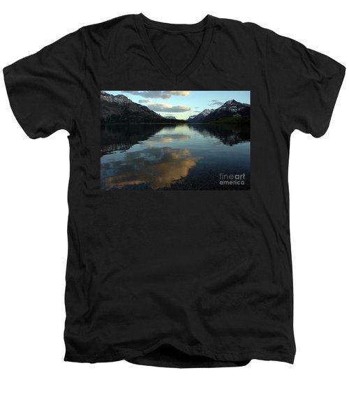 Waterton Lake Sunset Canada Men's V-Neck T-Shirt by Vivian Christopher