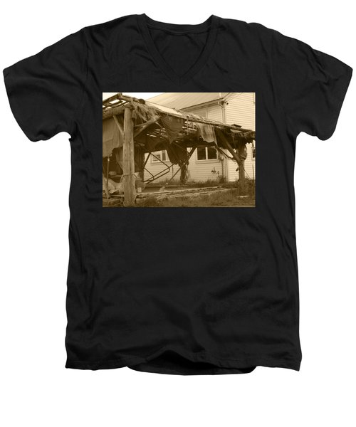 Men's V-Neck T-Shirt featuring the photograph Weathered And Blown To Pieces by Kym Backland