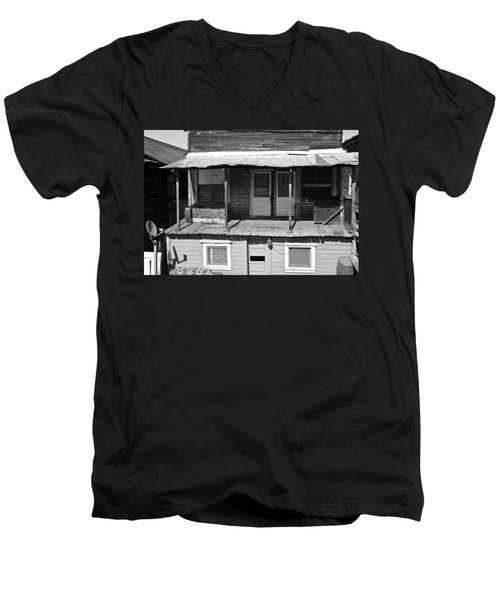 Weathered Home With Satellite Dish Men's V-Neck T-Shirt