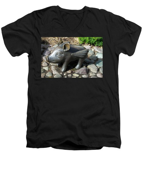 Men's V-Neck T-Shirt featuring the photograph When Pigs Fly by Chalet Roome-Rigdon