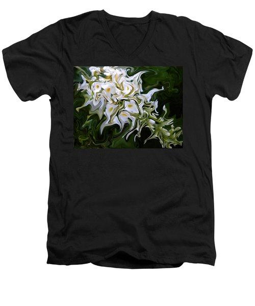 White Flowers 2 Men's V-Neck T-Shirt by Renate Nadi Wesley