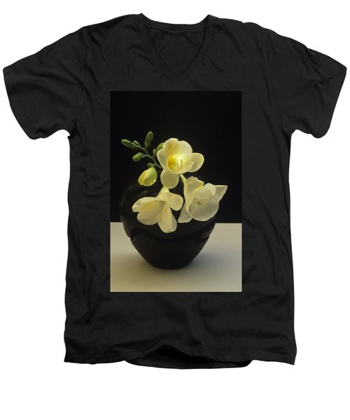 White Freesias In Black Vase Men's V-Neck T-Shirt