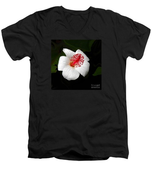 Men's V-Neck T-Shirt featuring the photograph White Hibiscus Flower by Rebecca Margraf