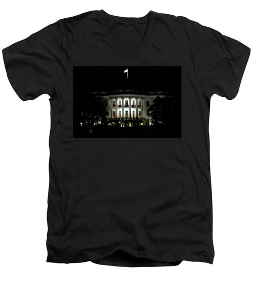 Men's V-Neck T-Shirt featuring the photograph White House In December by Suzanne Stout