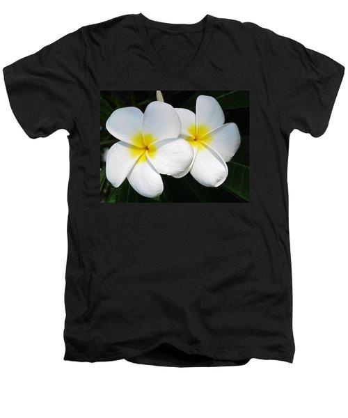 White Plumerias Men's V-Neck T-Shirt