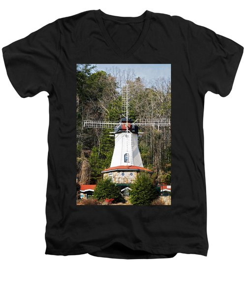 Men's V-Neck T-Shirt featuring the photograph White Windmill by Susan Leggett