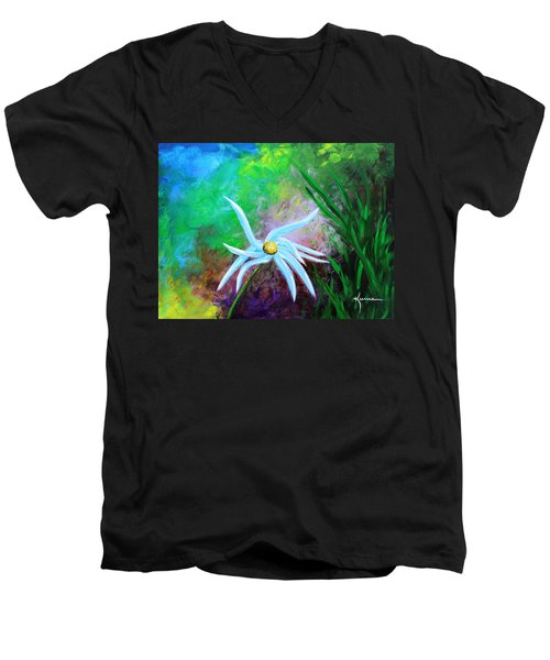 Men's V-Neck T-Shirt featuring the painting Wild Daisy 2 by Kume Bryant