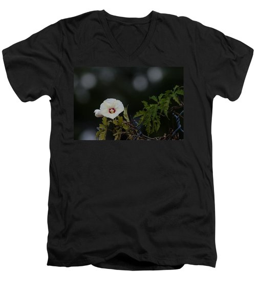 Men's V-Neck T-Shirt featuring the photograph Wildflower On Fence by Ed Gleichman