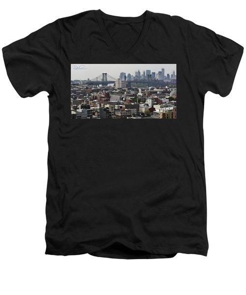 Williamsburg Bridge Men's V-Neck T-Shirt