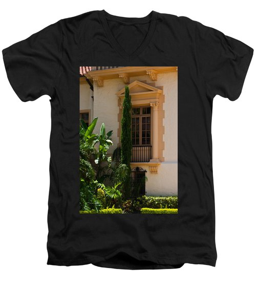 Men's V-Neck T-Shirt featuring the photograph Window At The Biltmore by Ed Gleichman