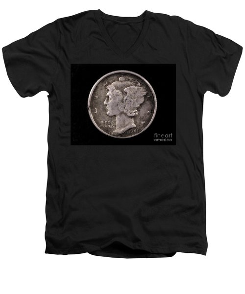 Winged Liberty Mercury Silver Dime Coin Men's V-Neck T-Shirt