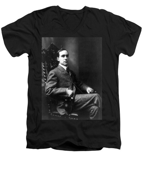 Men's V-Neck T-Shirt featuring the photograph Winston Churchill - C 1900 by International  Images