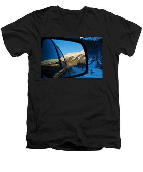 Winter Landscape Seen Through A Car Mirror Men's V-Neck T-Shirt