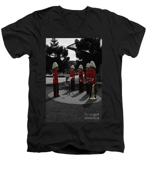 Men's V-Neck T-Shirt featuring the photograph Wooden Bandsmen by Blair Stuart